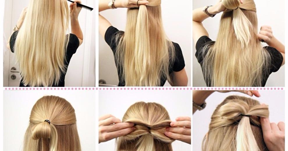 Как сделать бантик из длинного волоса 921